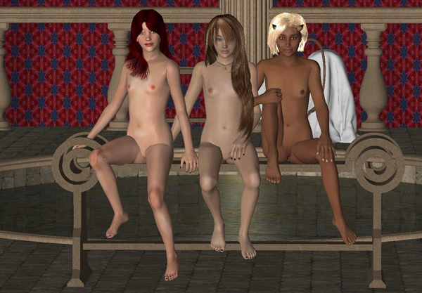 The three young friends pose for a portrait